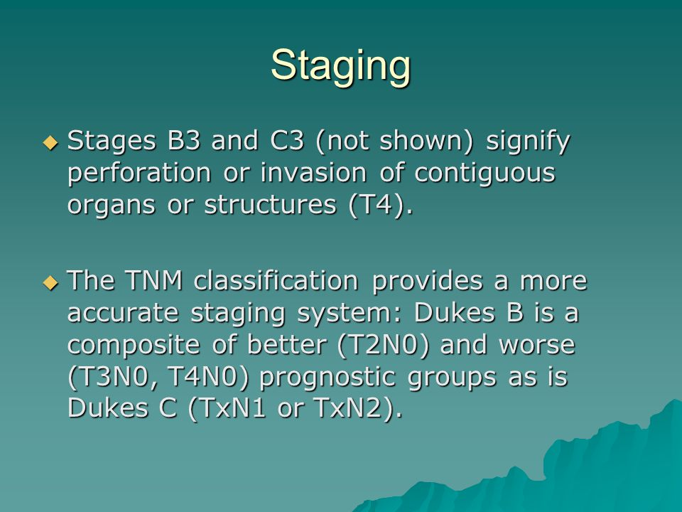 Staging Stages B3 and C3 (not shown) signify perforation or invasion of contiguous organs or structures (T4).