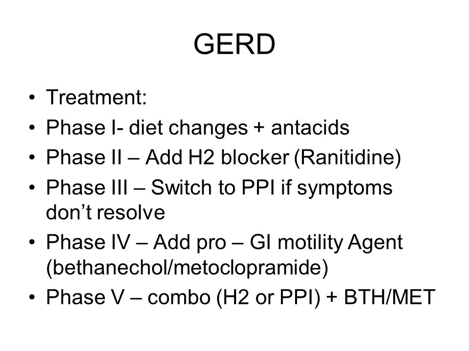 GERD Treatment: Phase I- diet changes + antacids