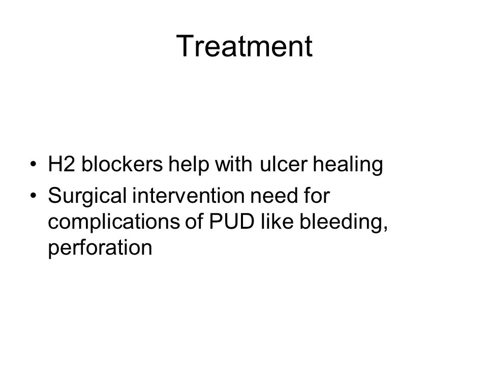Treatment H2 blockers help with ulcer healing