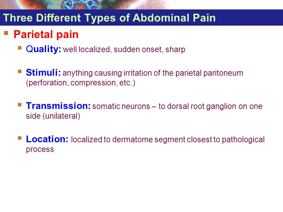 Three Different Types of Abdominal Pain