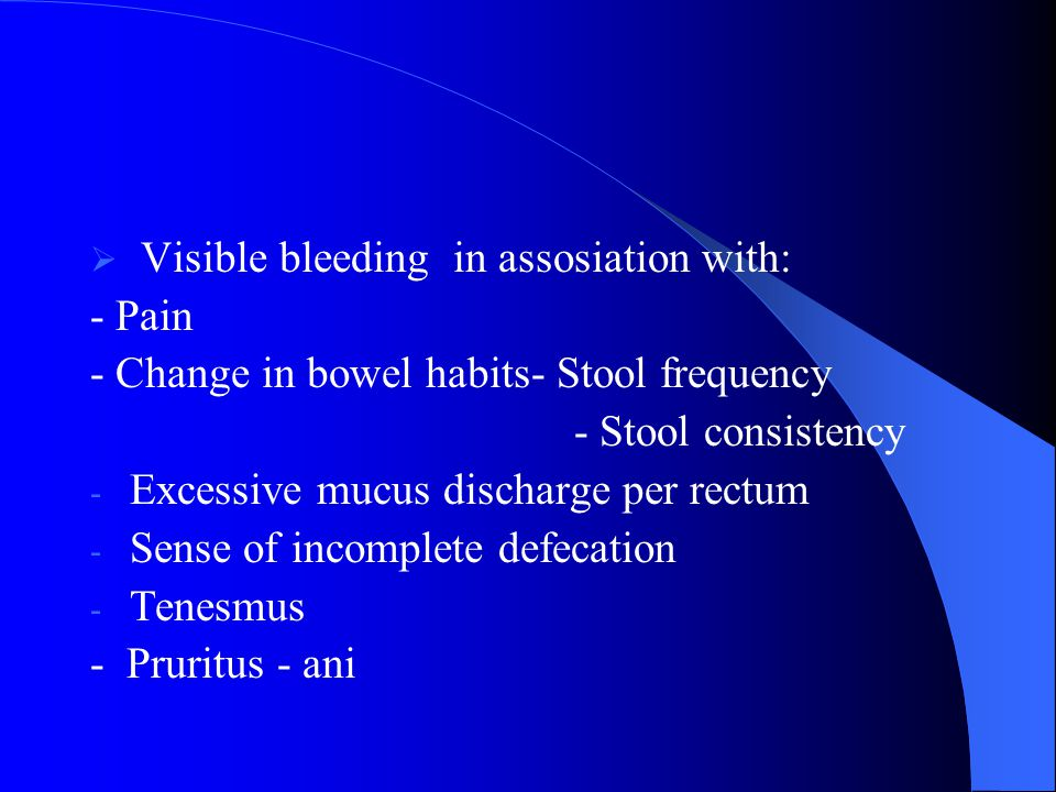 Visible bleeding in assosiation with: