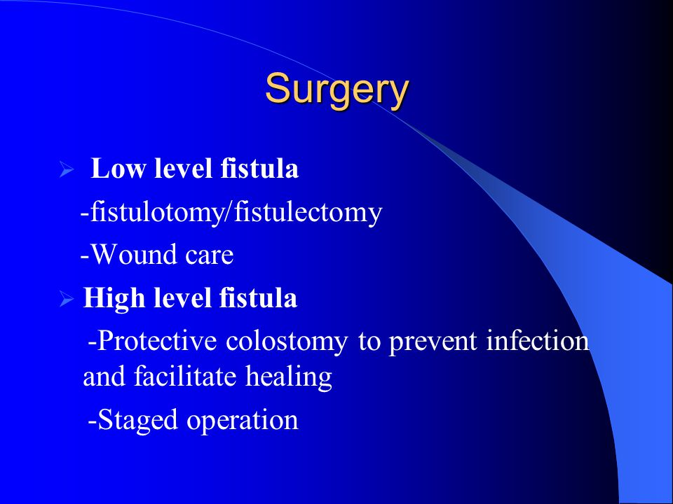 Surgery Low level fistula -fistulotomy/fistulectomy -Wound care