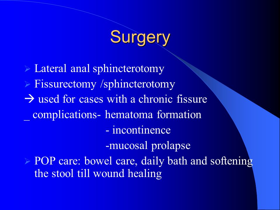 Surgery Lateral anal sphincterotomy Fissurectomy /sphincterotomy