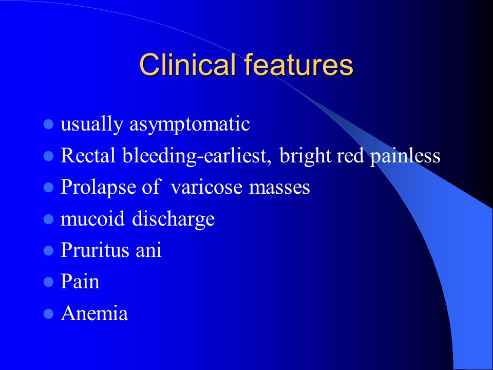 Clinical features usually asymptomatic
