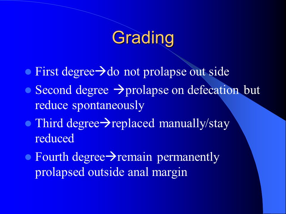 Grading First degreedo not prolapse out side