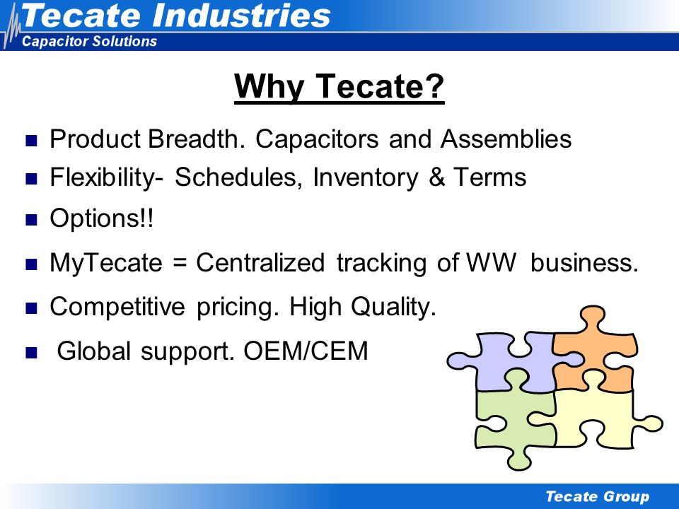 Why Tecate Product Breadth. Capacitors and Assemblies