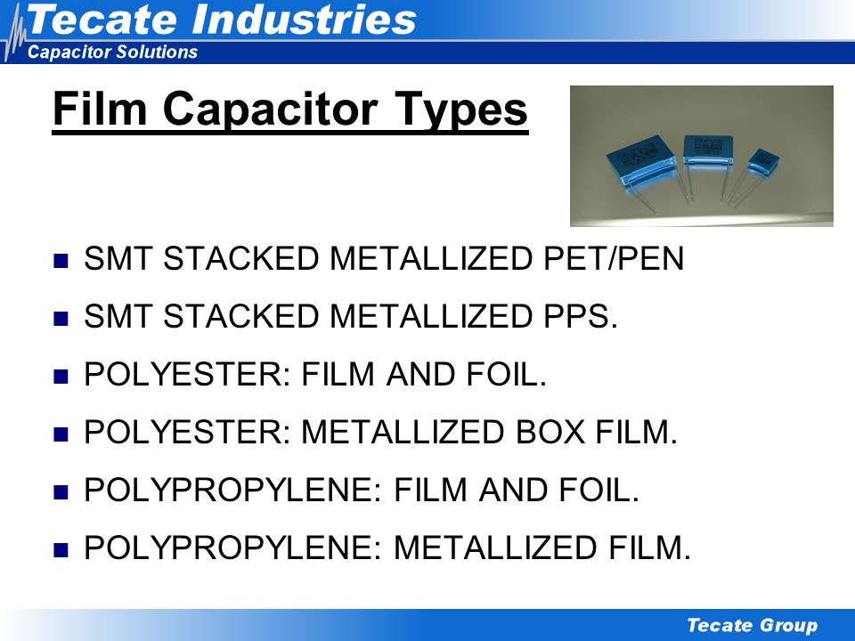 Film Capacitor Types SMT STACKED METALLIZED PET/PEN