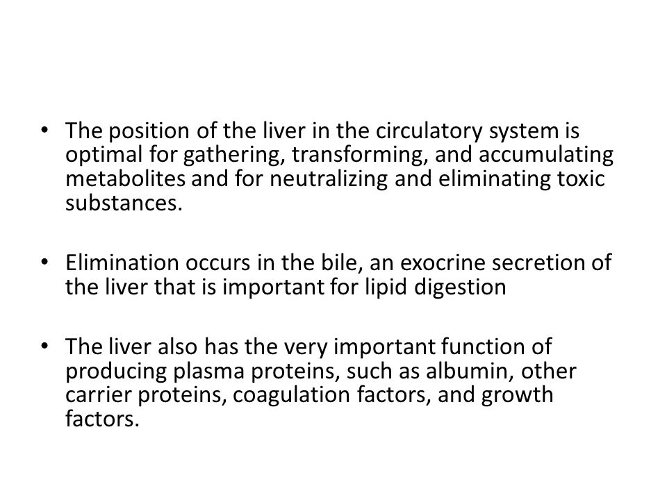 The position of the liver in the circulatory system is optimal for gathering, transforming, and accumulating metabolites and for neutralizing and eliminating toxic substances.
