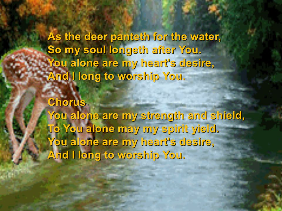 As the deer panteth for the water,