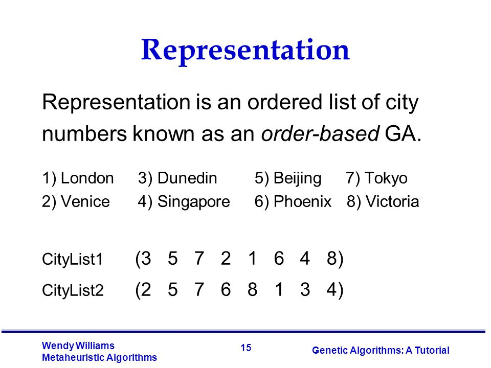 Representation Representation is an ordered list of city