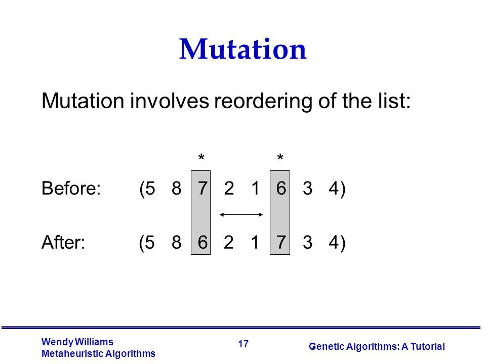 Mutation Mutation involves reordering of the list: