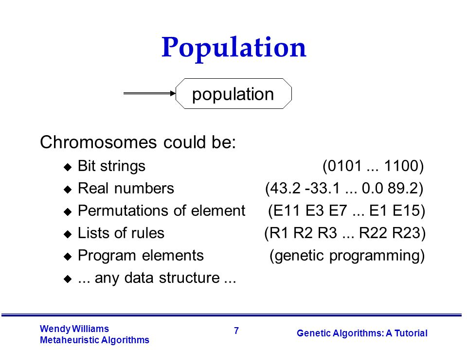 Population population Chromosomes could be: