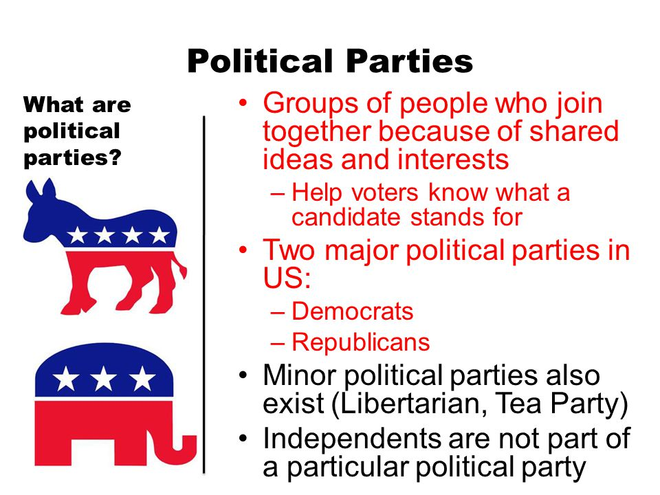Political Parties What are political parties Groups of people who join together because of shared ideas and interests.