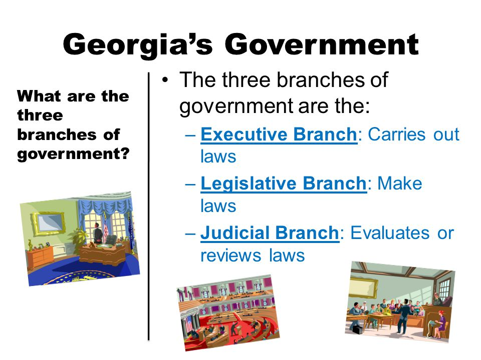Georgia's Government The three branches of government are the:
