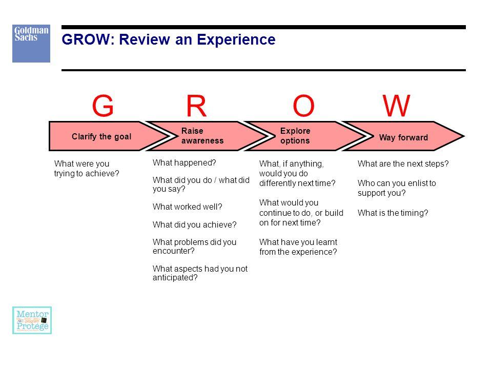 G R O W GROW: Explore an issue Clarify the goal Raise awareness