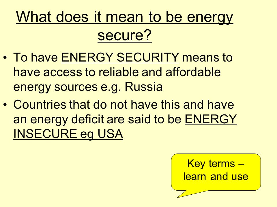 What does it mean to be energy secure