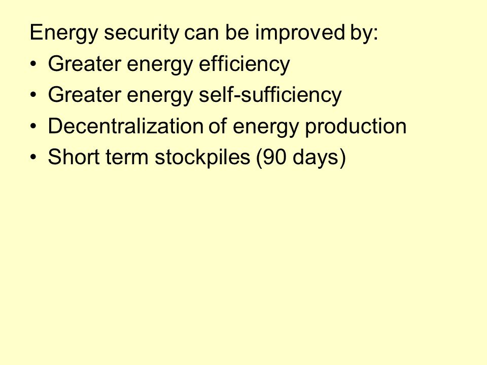 Energy security can be improved by: