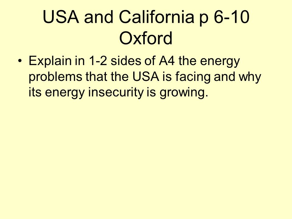 USA and California p 6-10 Oxford