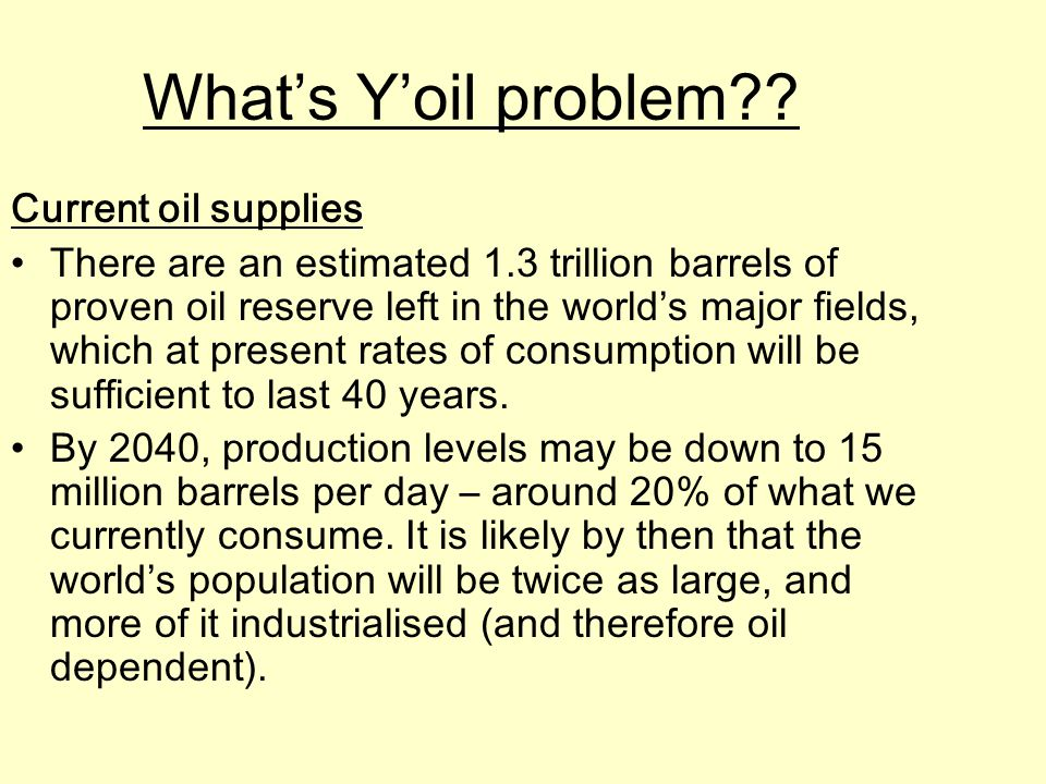 What's Y'oil problem Current oil supplies