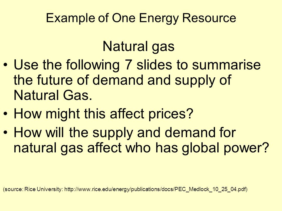 Example of One Energy Resource