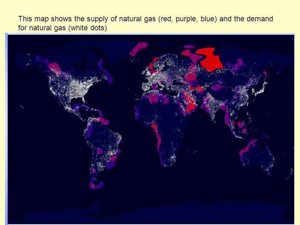 This map shows the supply of natural gas (red, purple, blue) and the demand for natural gas (white dots)