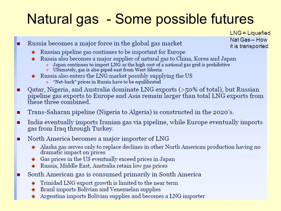 Natural gas - Some possible futures