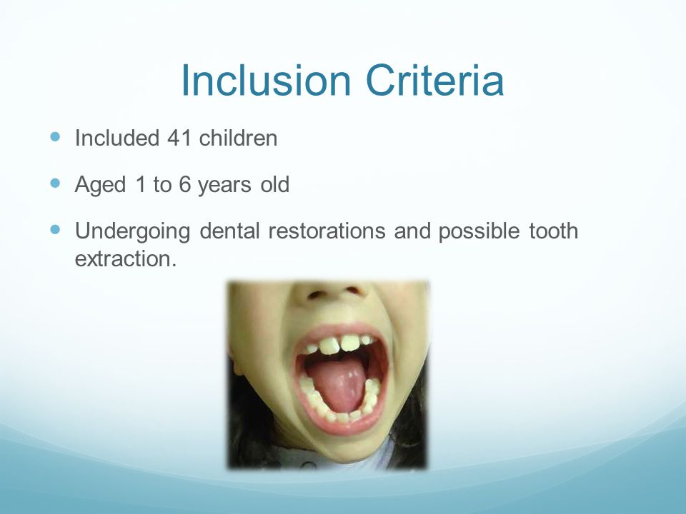 Inclusion Criteria Included 41 children Aged 1 to 6 years old