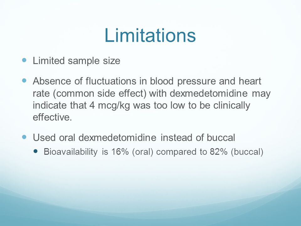 Limitations Limited sample size