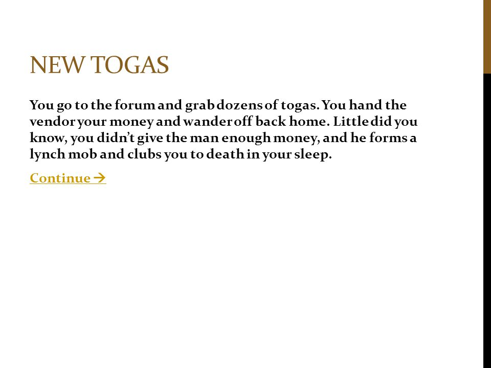 New togas