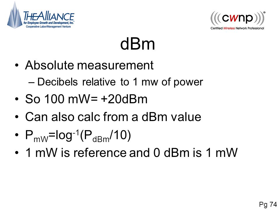 dBm Absolute measurement So 100 mW= +20dBm
