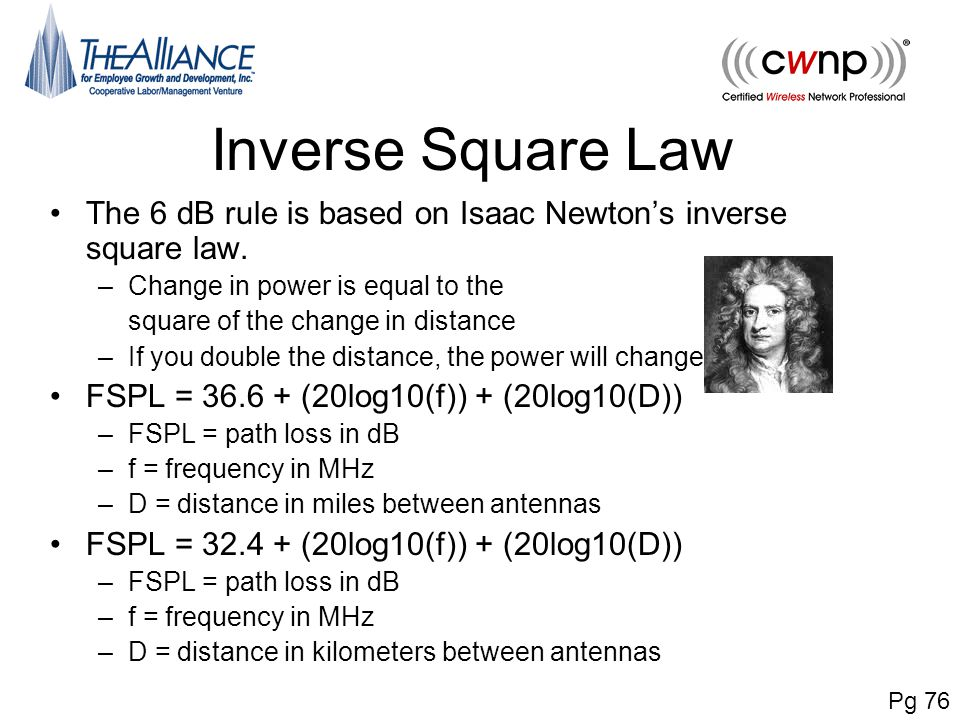 Inverse Square Law The 6 dB rule is based on Isaac Newton's inverse square law. Change in power is equal to the.