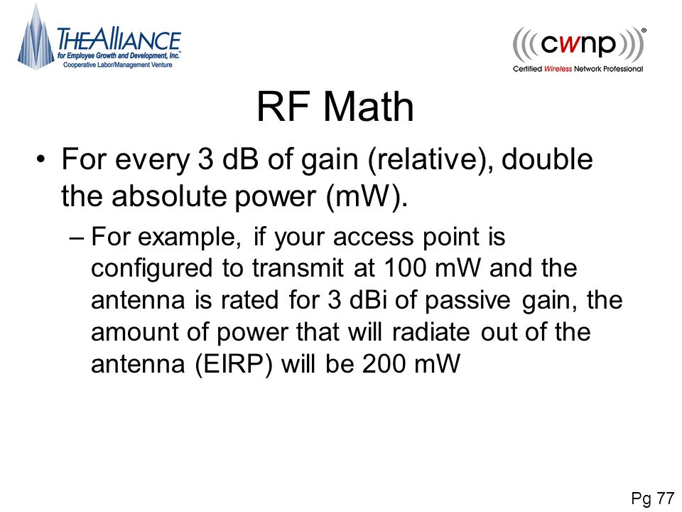 RF Math For every 3 dB of gain (relative), double the absolute power (mW).
