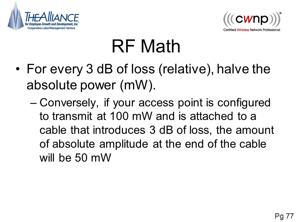 RF Math For every 3 dB of loss (relative), halve the absolute power (mW).