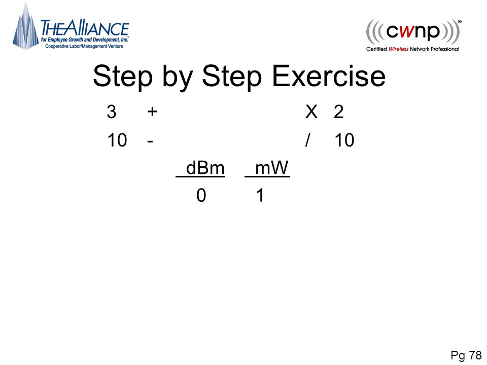 Step by Step Exercise 3 + X 2 10 - / dBm mW 1 Pg 78