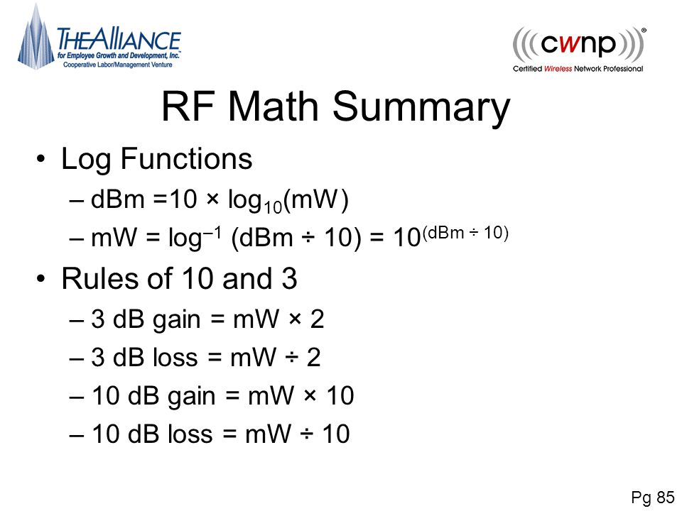 RF Math Summary Log Functions Rules of 10 and 3 dBm =10 × log10(mW)