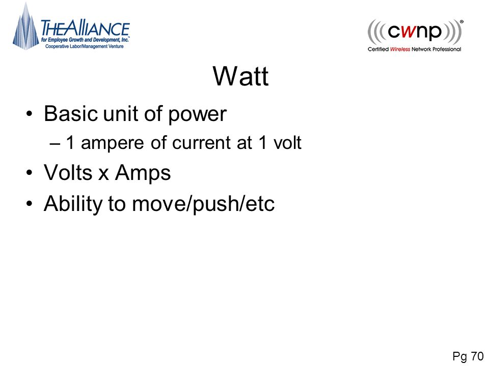 Watt Basic unit of power Volts x Amps Ability to move/push/etc