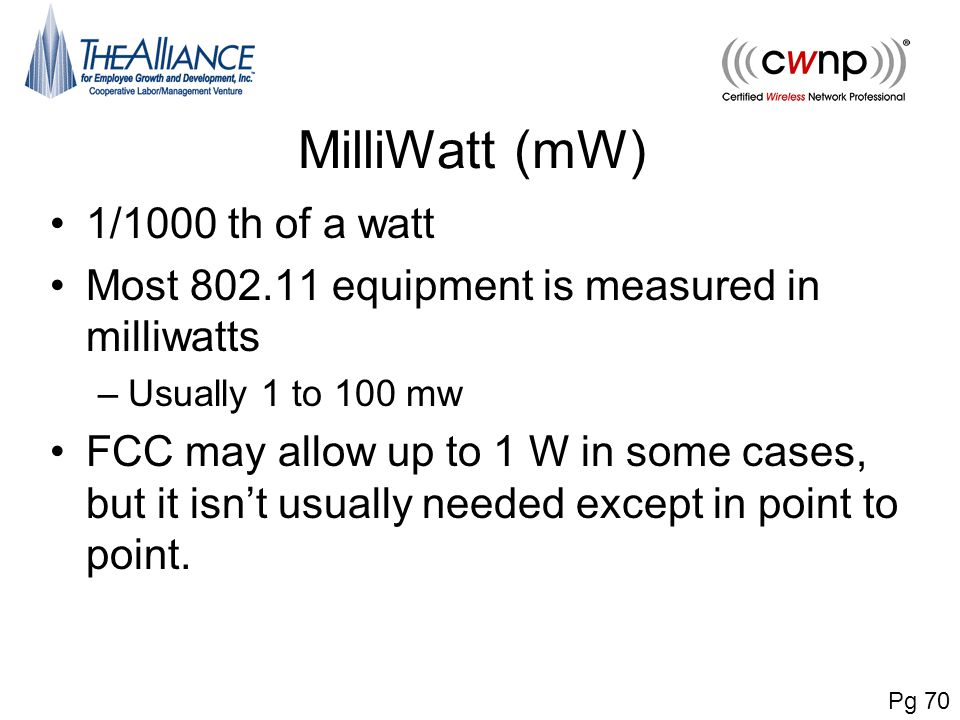 MilliWatt (mW) 1/1000 th of a watt