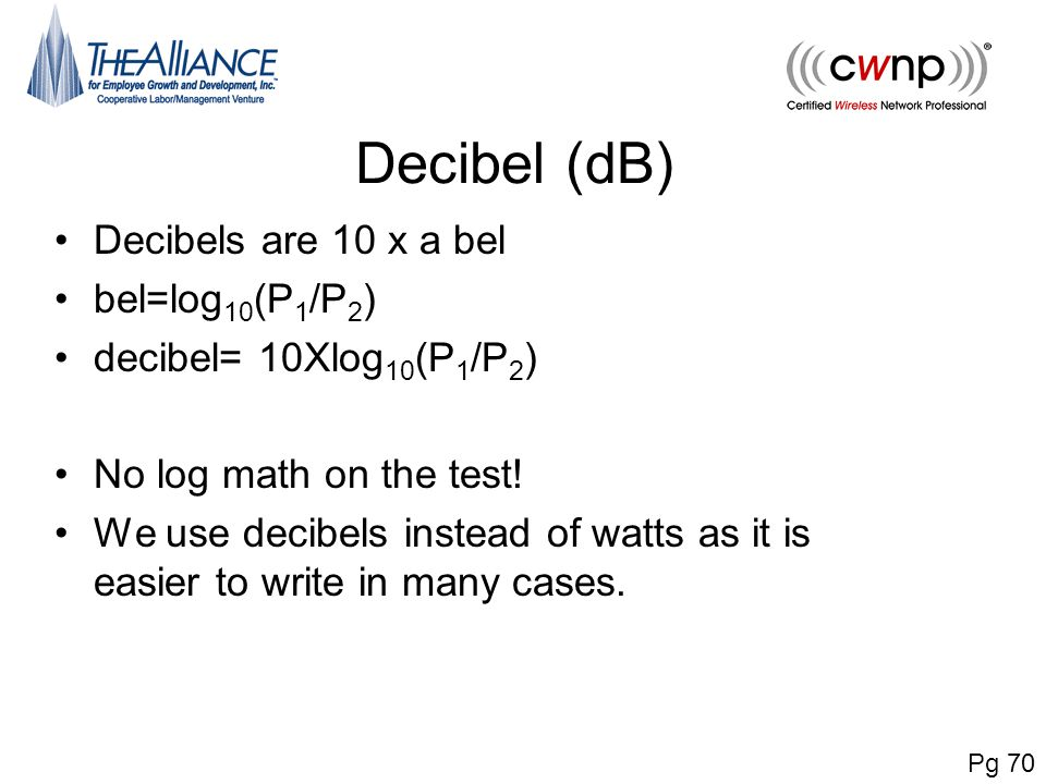 Decibel (dB) Decibels are 10 x a bel bel=log10(P1/P2)