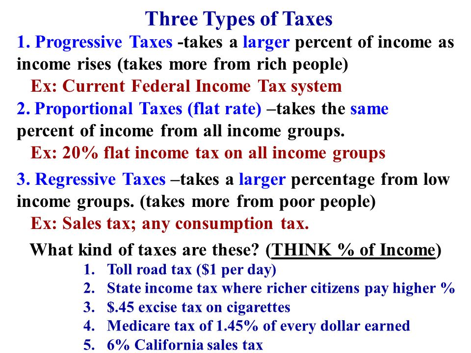 What kind of taxes are these (THINK % of Income)