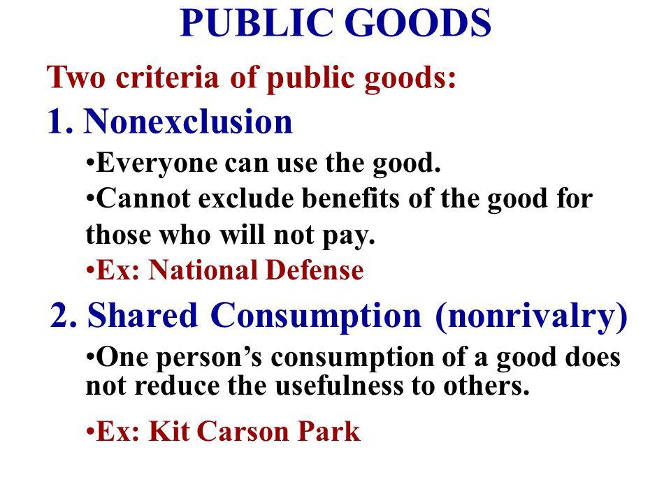 PUBLIC GOODS 1. Nonexclusion 2. Shared Consumption (nonrivalry)
