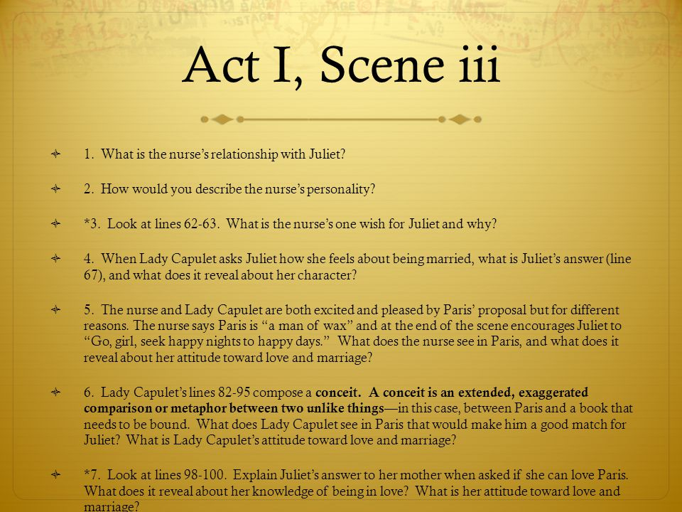 Act I, Scene iii 1. What is the nurse's relationship with Juliet