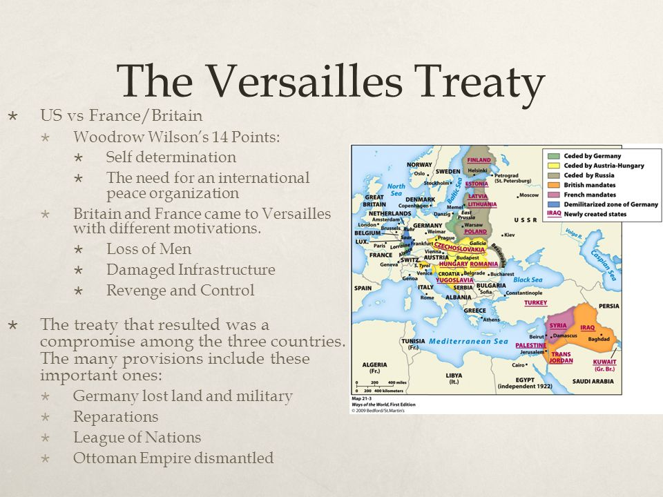 The Versailles Treaty US vs France/Britain