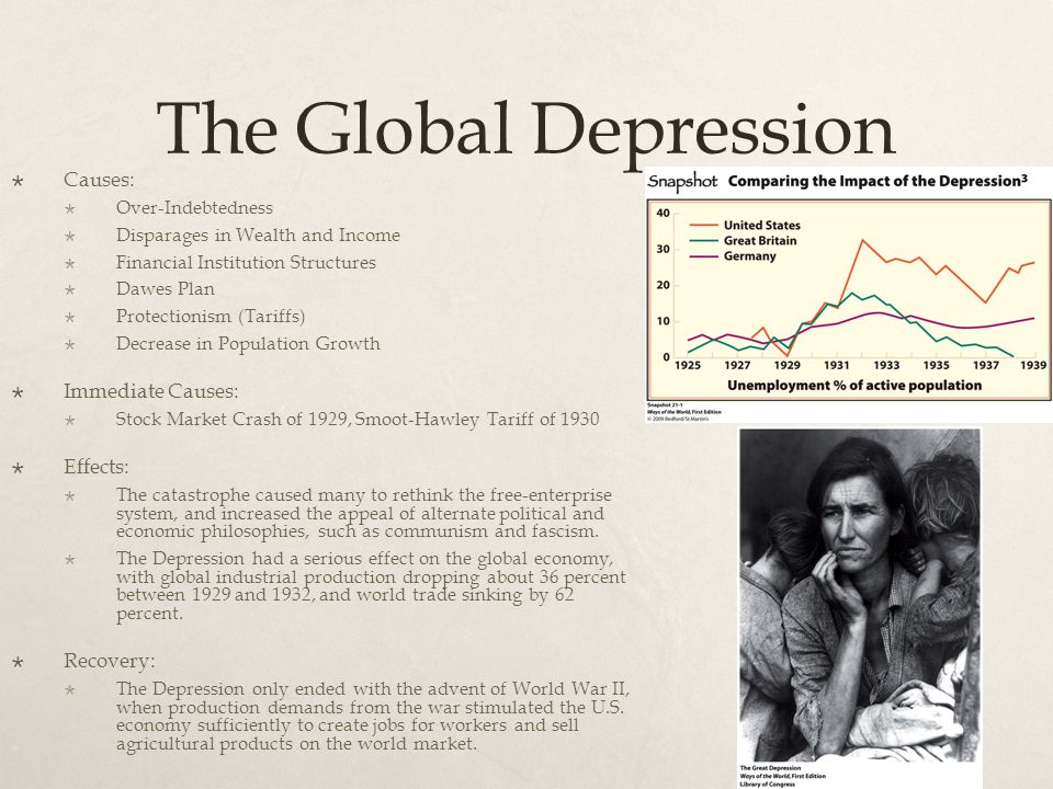 The Global Depression Causes: Immediate Causes: Effects: Recovery: