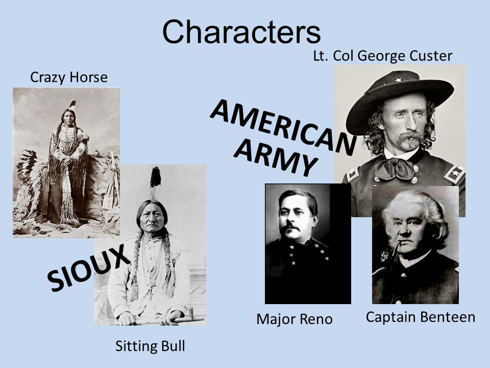 Characters AMERICAN ARMY SIOUX Lt. Col George Custer Crazy Horse