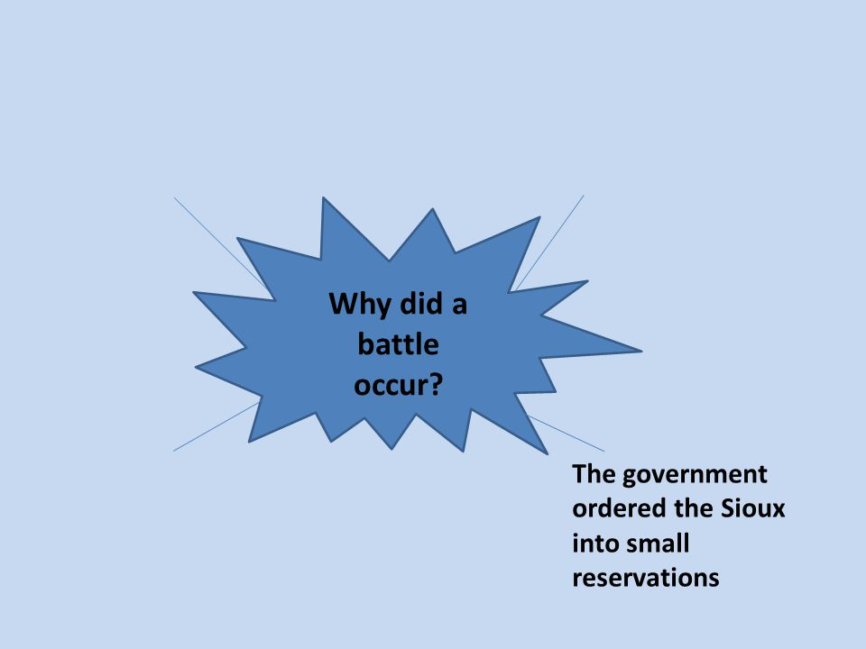 Why did a battle occur The government ordered the Sioux into small reservations