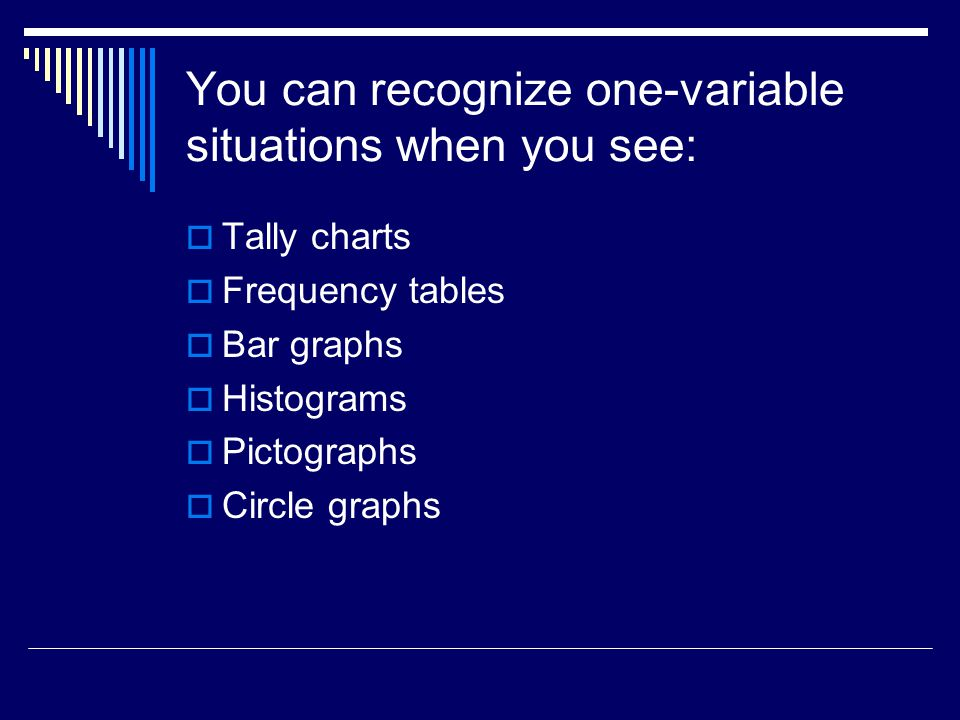 You can recognize one-variable situations when you see: