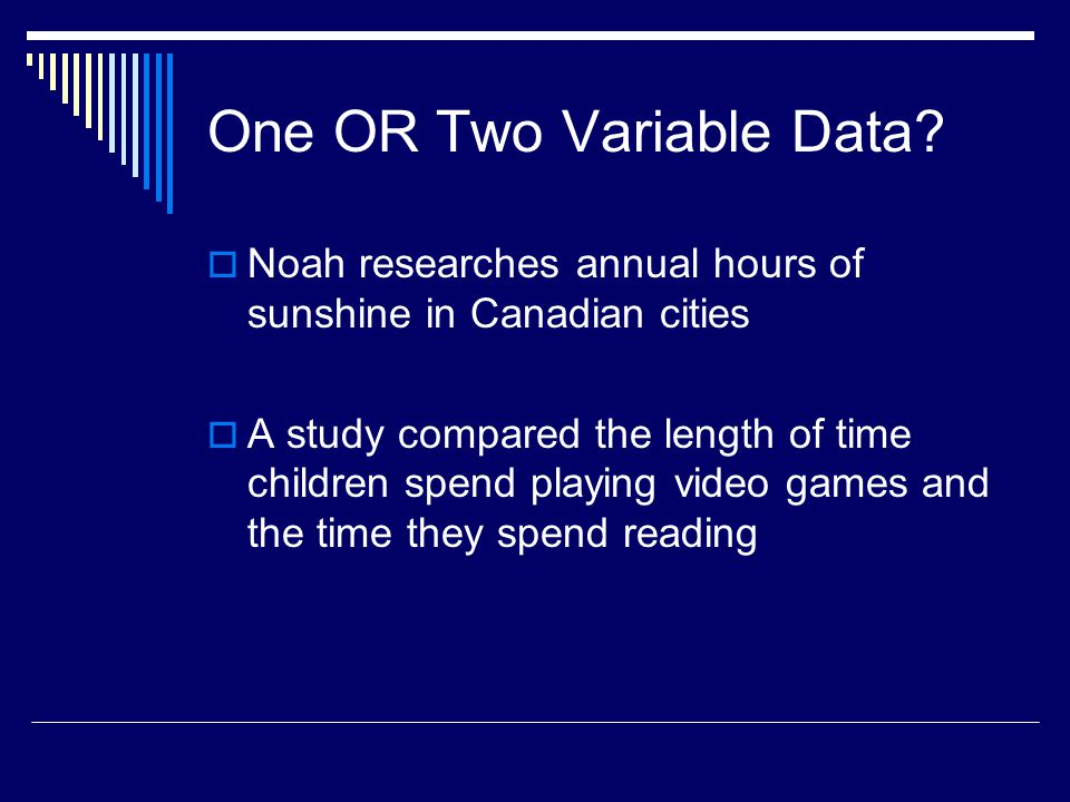 One OR Two Variable Data