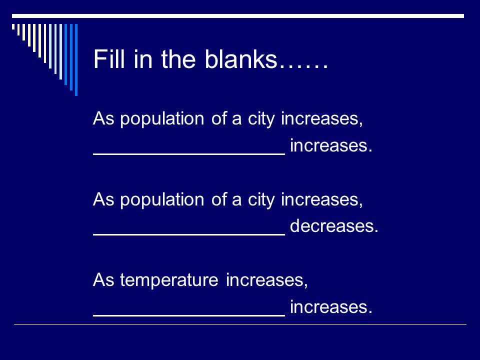 Fill in the blanks…… As population of a city increases, increases.