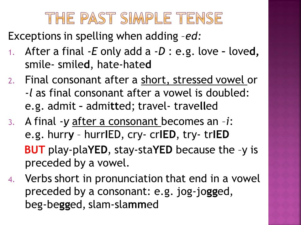 The past simple tense Exceptions in spelling when adding –ed: