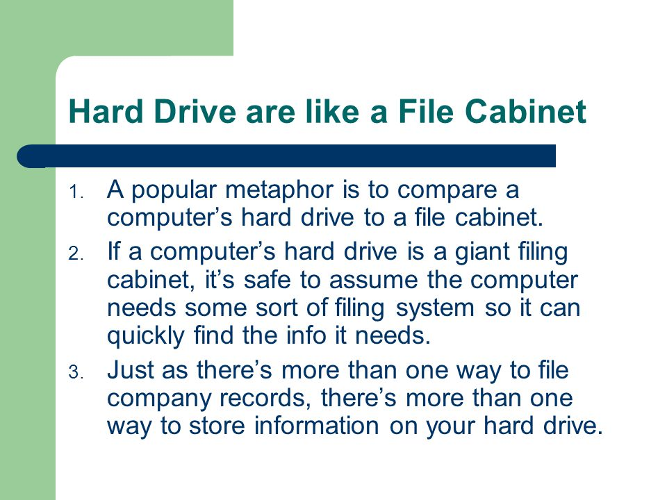 Hard Drive are like a File Cabinet